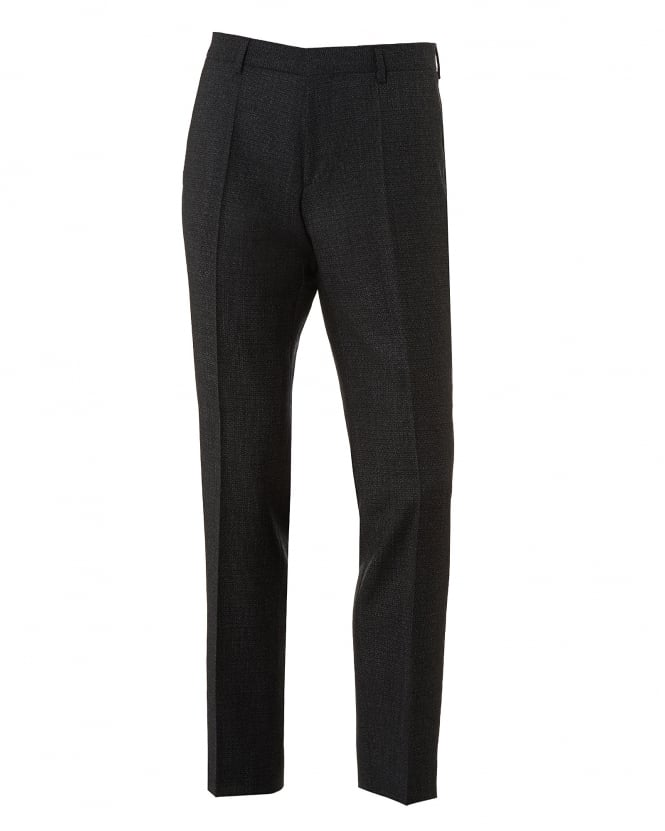 BOSS Business Mens Genesis3 Textured Plain Finish Charcoal Grey Trousers