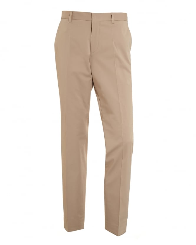 Hugo Boss Black Mens Genisis Chinos, Cotton Stretch Beige Trousers