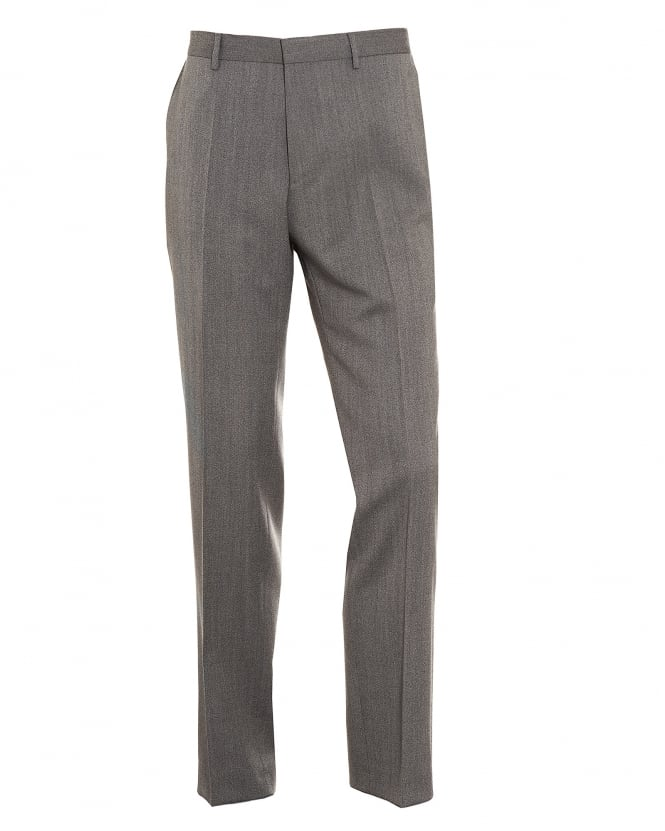 Hugo Boss Black Mens Giro3 New-Wool Blend Slim Fit Grey Trousers