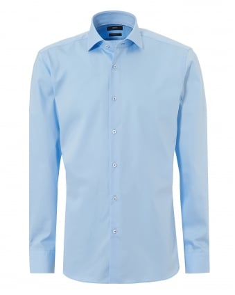 Mens Glent Business Plain Sky Blue Shirt
