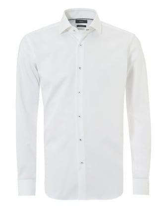 Mens Glent Business Plain White Shirt