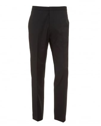 Mens Godwin Trousers, Slim Fit Virgin Wool Black Dress Pants