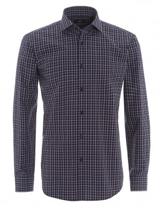 Mens Gordon Medium Check Regular Fit Navy Shirt
