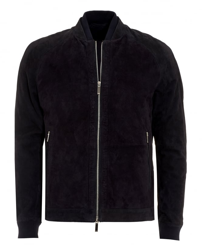 Hugo Boss Black Mens Gorin Jacket, Suede Navy Blue Bomber Jacket