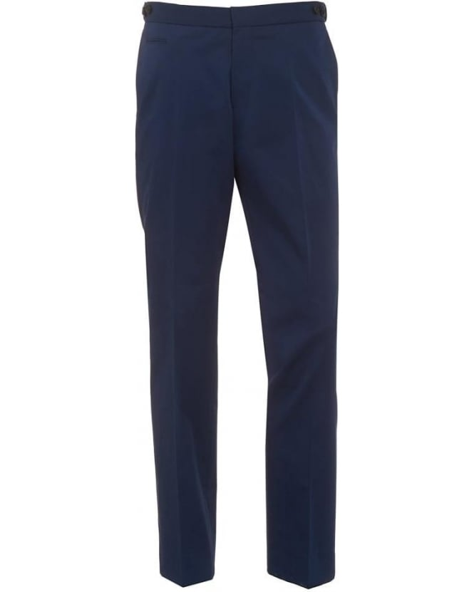 BOSS Business Mens Grainy Chinos, Navy Blue Slim Fit Trousers