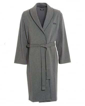 Mens Grey Shawl Herringbone Dressing Gown