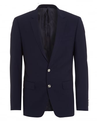 Mens Hanston Jacket, Navy Blue Metal Button Slim Fit Blazer