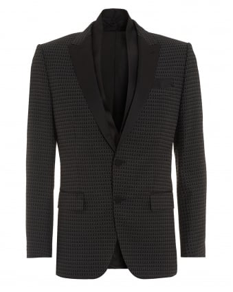Mens Havit Jacket, Patterened Slim Fit Black Dinner Jacket