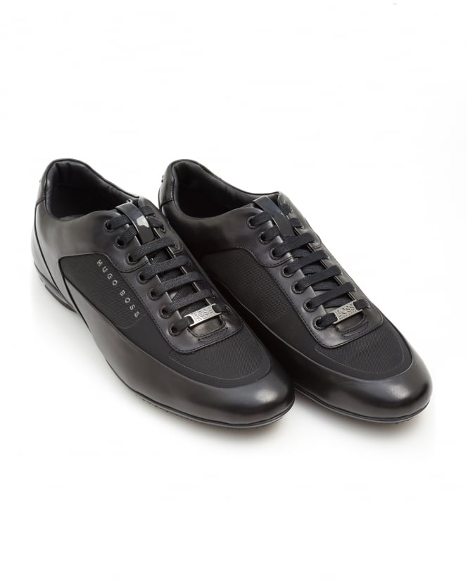 BOSS Business Mens HB Racing Trainers, Leather Racing Black Sneakers