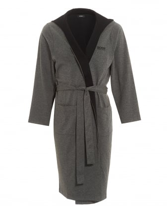 Mens Hooded Robe Charcoal Grey Dressing Gown