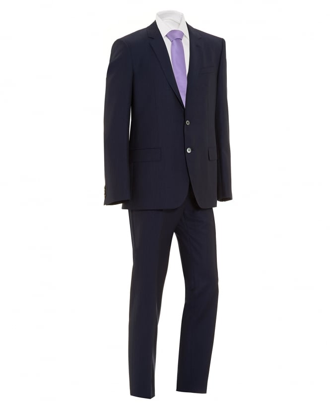 BOSS Business Mens Hudson Gander Suit, Navy Blue Pinstripe