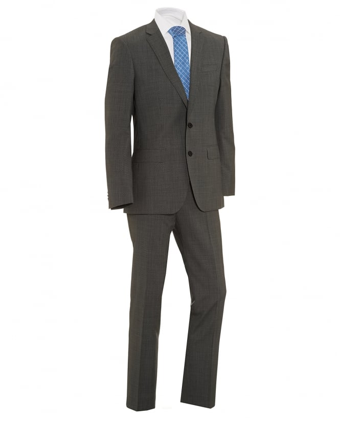 BOSS Business Mens Huge/Genius Grey Textured Slim Fit Suit