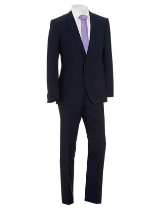 Mens Huge/Genius Navy Blue Sharkskin Suit