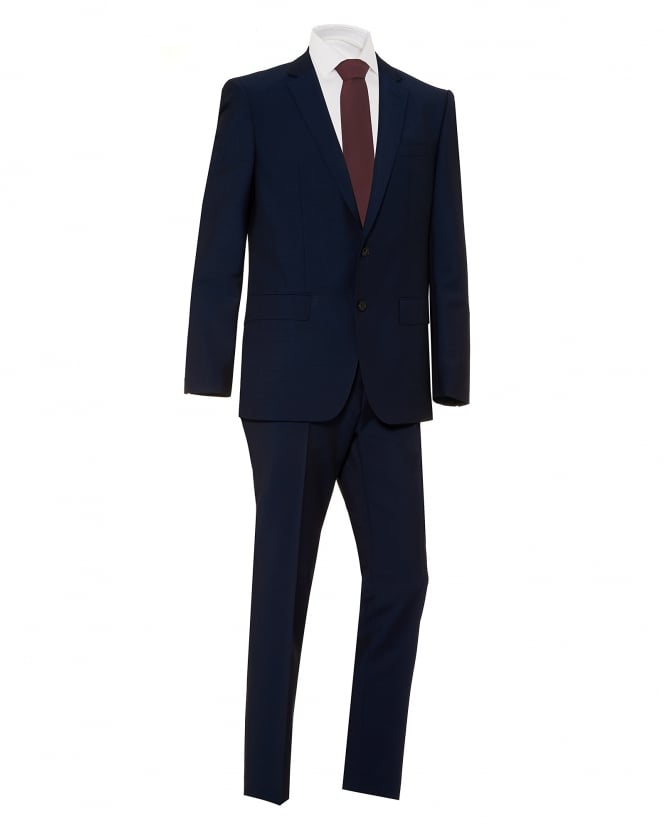 BOSS Business Mens Huge Genius Slim Fit Navy Blue Suit