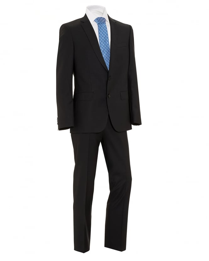 Hugo Boss Black Mens Huge4 Genius3 Suit, Black Virgin Wool Slim Fit Suit