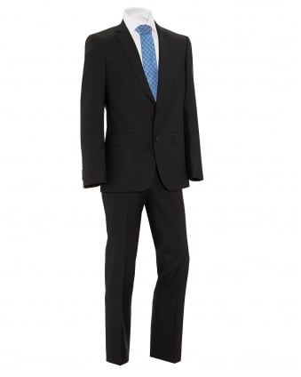 Mens Huge4 Genius3 Suit, Black Virgin Wool Slim Fit Suit
