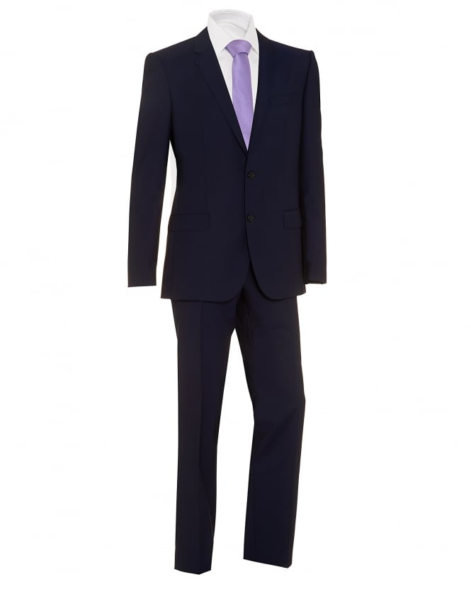 Hugo Boss Black Mens Huge4 Genius3 Suit, Navy Blue Tonal Wool Suit