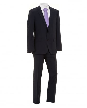 Mens Huge4 Genius3 Suit, Navy Blue Virgin Wool Slim Fit Suit