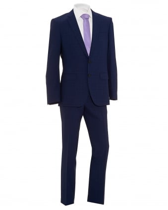 Mens Huge5/Genius3 Navy Blue Textured Micro Grid Check Slim Fit Suit