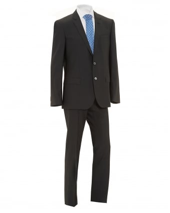 Mens Hutson Gander Suit, Charcoal Grey Silk Blend Suit