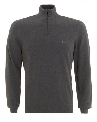 Mens Igor Knit, Quarter Zip Regular Fit Grey Sweater