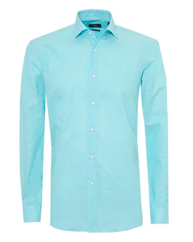 BOSS Business Mens Ismo Shirt, Cotton Linen Aqua Blue Shirt