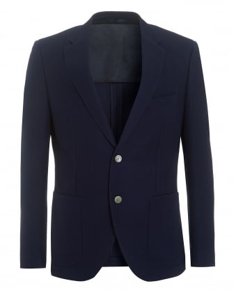 Mens Janson Navy Regular Fit Wool Textured Jacket