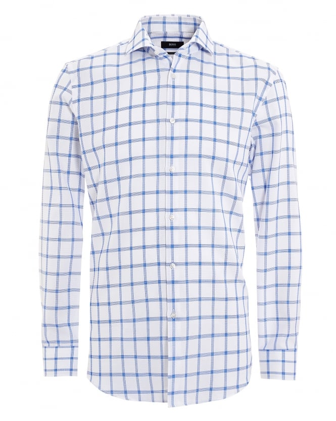Hugo Boss Black Mens Jason Shirt, Window Pane Pattern White Royal Shirt