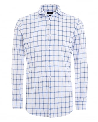 Mens Jason Shirt, Window Pane Pattern White Royal Shirt