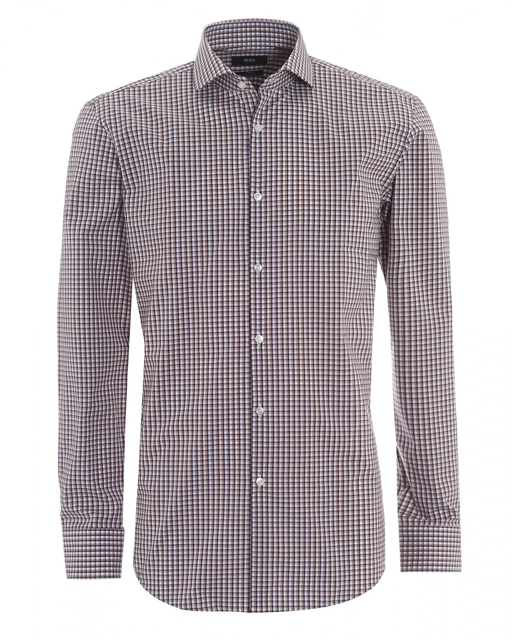 Mens Jason Small Check Navy Tobacco Shirt