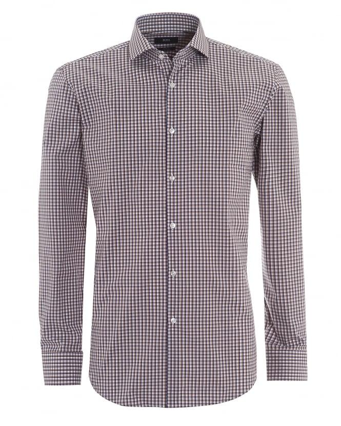 Hugo boss classic mens jason small check navy tobacco shirt for Hugo boss jason shirt