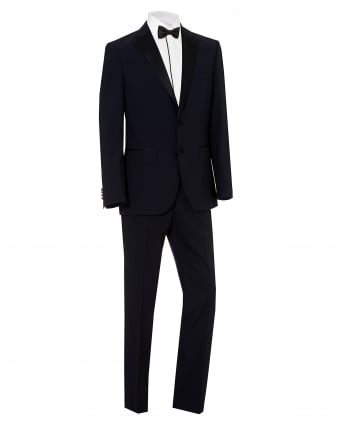 Mens Jelvan Liven Black Wool Dinner Suit