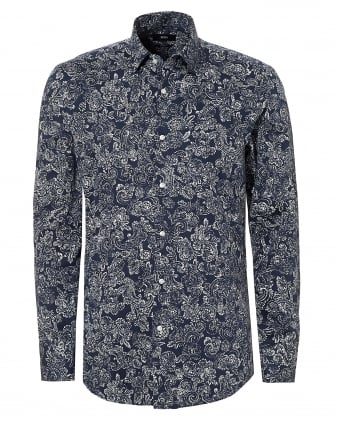 Mens Jenno Paisley Navy White Slim Fit Shirt