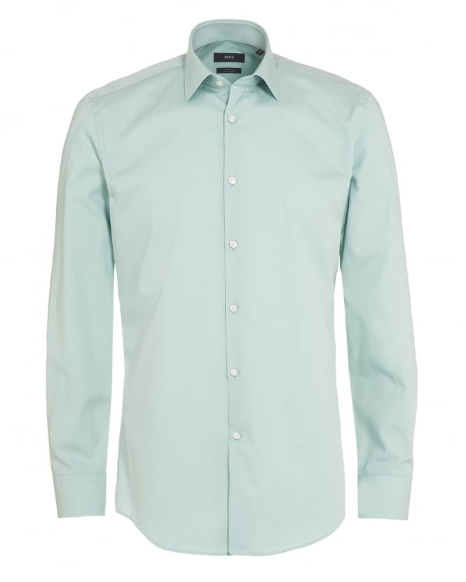 Hugo Boss Black Mens Jenno Shirt, Mint Green Slim Fit Plain Shirt