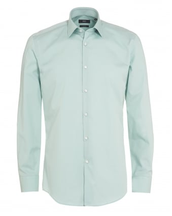 Mens Jenno Shirt, Mint Green Slim Fit Plain Shirt