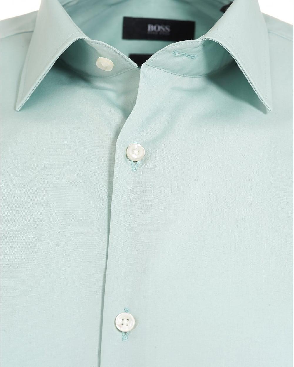 Hugo Boss Classic Mens Jenno Shirt Mint Green Slim Fit Plain Shirt