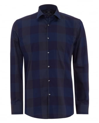 Mens Jenno Shirt Navy Checkered Slim Fit Shirt