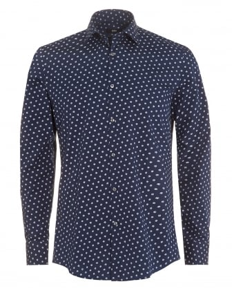 Mens Jenno Shirt, Navy Feather Print Slim Fit