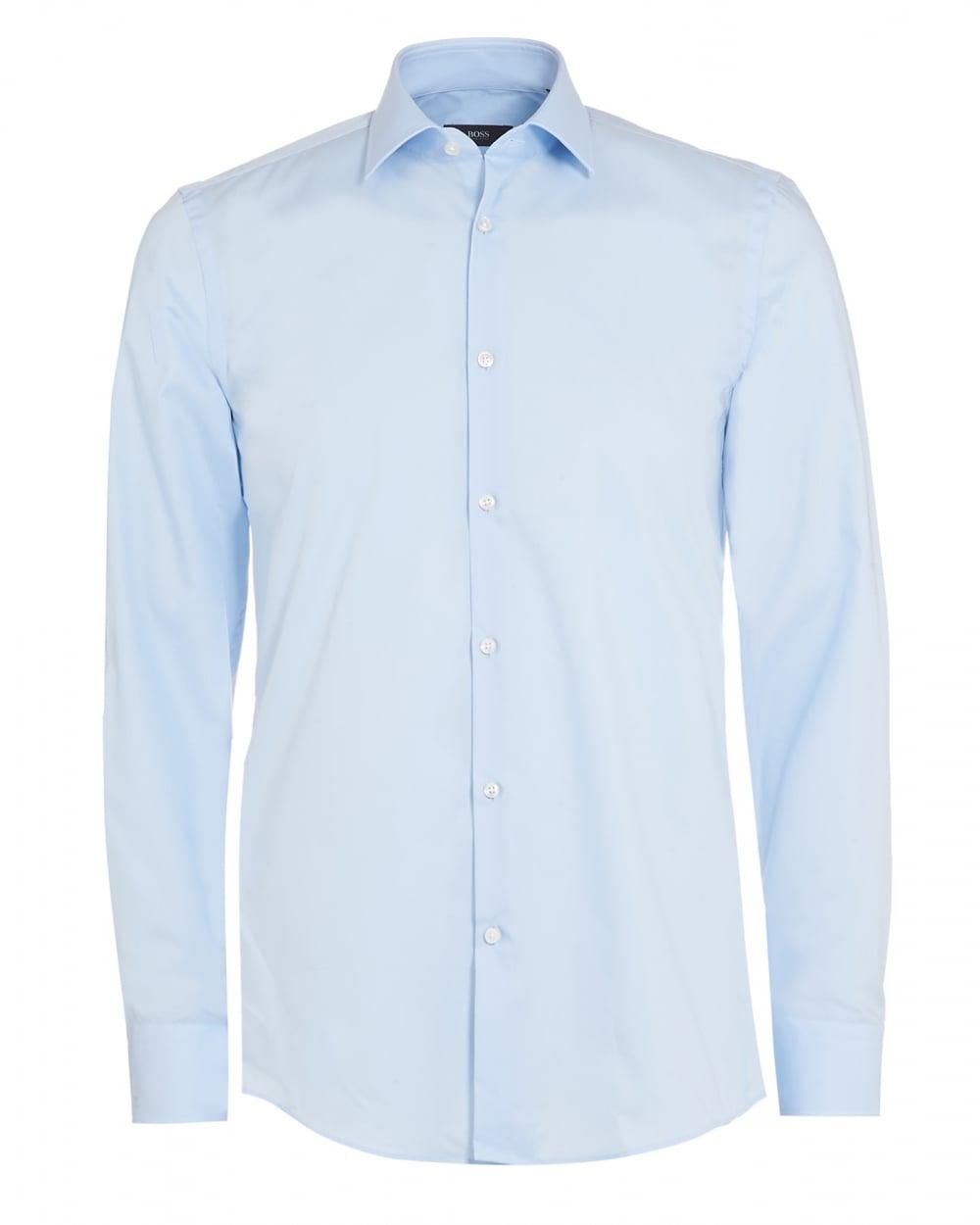 Mens Jenno Shirt, Sky Blue Plain Slim Fit Shirt
