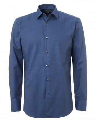 Mens Jenno Small Texture Slim Fit Mid Blue Shirt