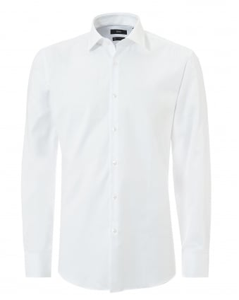 Mens Jenno Small Texture Slim Fit White Shirt