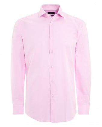 Mens Jerrin Shirt, Contrast Trim Pink Shirt