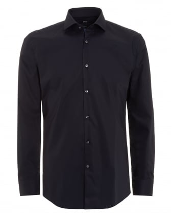 Mens Jerrin Shirt, Slim Fit Plain Navy Blue Shirt