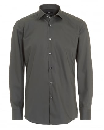 Mens Jerrin Slim Fit Plain Charcoal Shirt