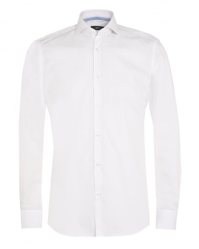 Hugo Boss Black Mens Jery Shirt, Slim Fit White Business Shirt