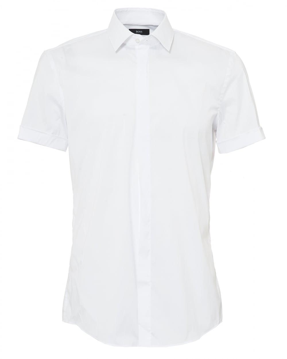 Mens Jill Shirt, Short Sleeved Slim Fit White Shirt