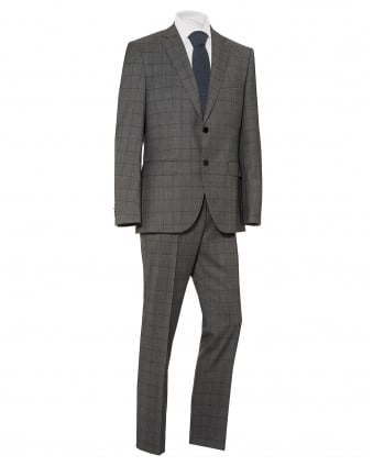 Mens Johnston Lenon Window Pane Grey Regular Fit Suit