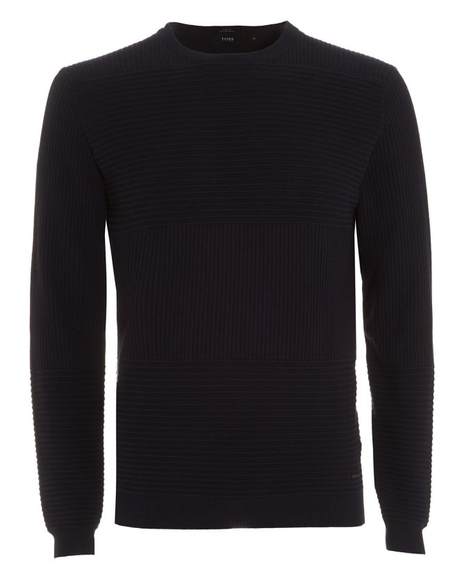 Hugo Boss Black Mens Jumper, Banty Slim Fit Panel Navy Blue Sweater