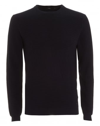 Mens Jumper, Banty Slim Fit Panel Navy Blue Sweater