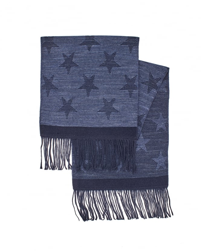 Hugo Boss Black Mens Kayst Navy Blue Star Scarf
